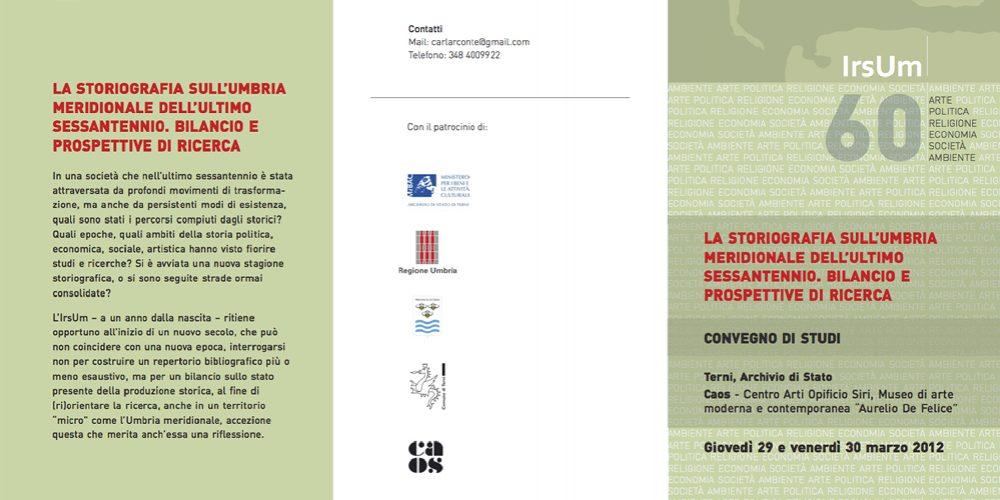 "Convegno IrsUm ""La storiografia sull'Umbria meridionale dell'ultimo sessantennio"""